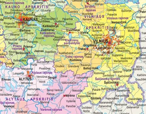 Maps - Wall maps - Administrative and physiographic map of Lithuania ...