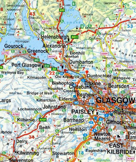 Road Map Of England And Scotland.Maps Road Maps Atlases Scotland North England