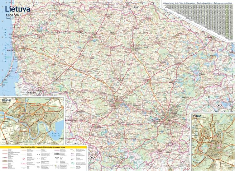 Maps Road maps atlases Lietuva