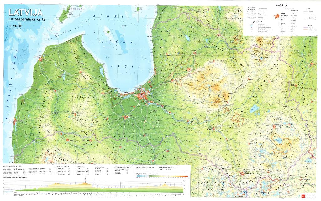 Maps - Wall maps - Latvija. Fizioģeogrāfiskā karte