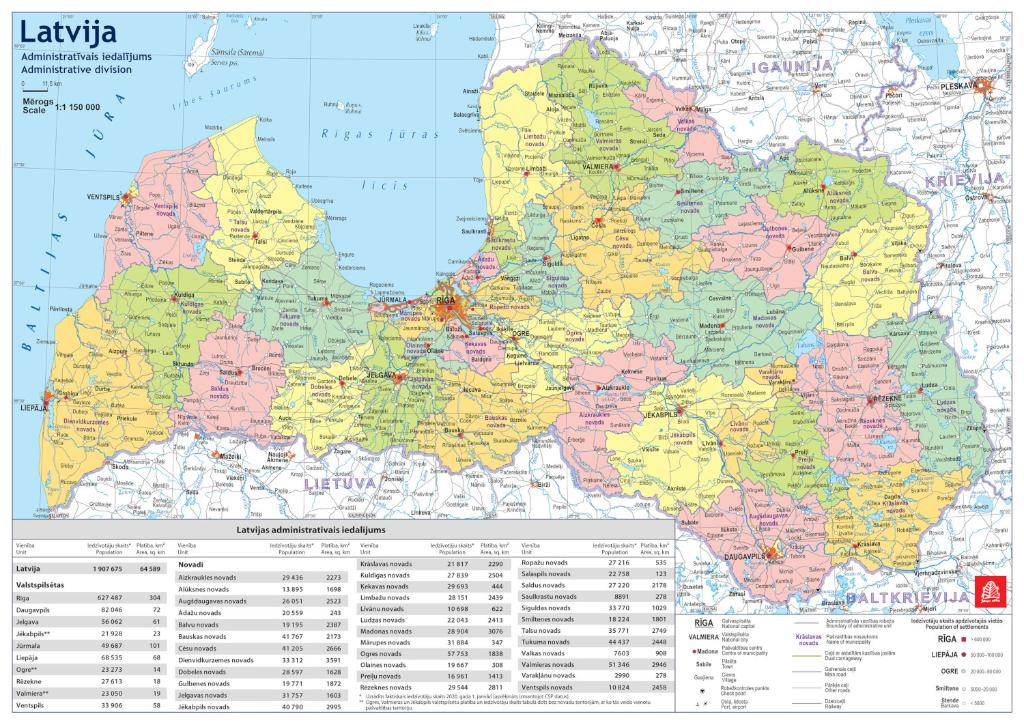 Maps - Wall maps - Administrative and physiographic map of Latvia A3 ...