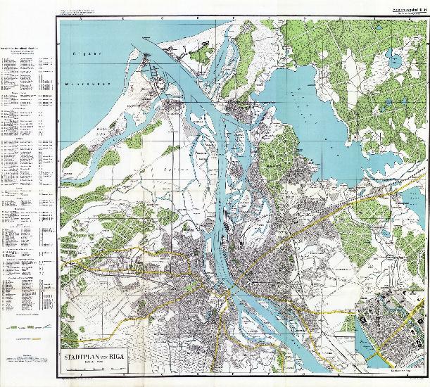 Antique Stadtplan von Riga 1941 colour reprint